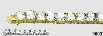 Solid 14K Gold 5 Carat CZ Cubic Zirconia Tennis Bracelet - Product Image