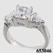 14k White Gold Antique Princess/Trillion Cubic Zirconia Ring - Product Image