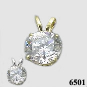 14k Gold Round Brilliant CZ Cubic Zirconia Four Prong Traditional Pendant - Product Image