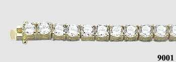 Solid 14k Gold 2.5 Carat CZ Cubic Zirconia Tennis Bracelet - Product Image