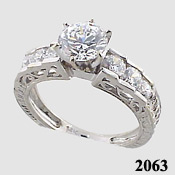 14k Gold 1.5 CTW Cubic Zirconia 14k White Antique Ring - Product Image
