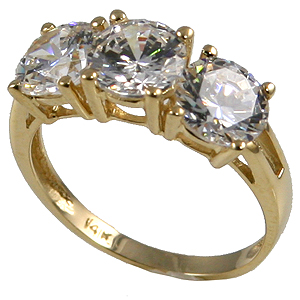 14k Gold, Huge! 3 CTW CZ/Cubic Zirconia Ring - Product Image