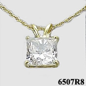 Solid 14k Gold Russian CZ Cubic Zirconia Princess Cut Necklace - Product Image