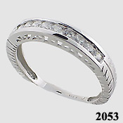 14k Gold White Antique channel set CZ Anniversary Band Ring - Product Image
