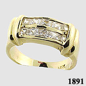 14k Gold Double Row Princess CZ/Cubic Zirconia Channel Ring - Product Image