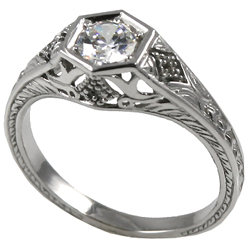 Platinum 1/2 ct CZ Cubic Zirconia Antique/Deco Solitaire Ring - Product Image