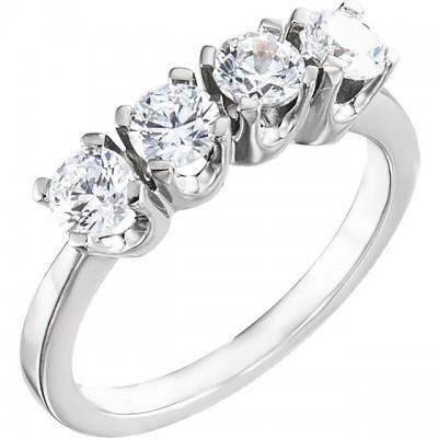 14k Gold 1 CTW CZ 4 Stone Wedding/Anniversary Band Ring - Product Image