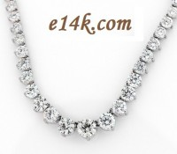 14k Gold 15 Carat CZ Cubic Zirconia Tennis Necklace - Product Image
