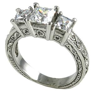 Platinum 2 ctw 3 Stone Antique Princess CZ Cubic Zirconia Ring - Product Image