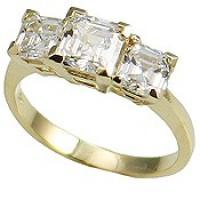 14k Gold 3 Stone Princess  Cut V Prong CZ/Cubic Zirconia Anniversary Ring - Product Image