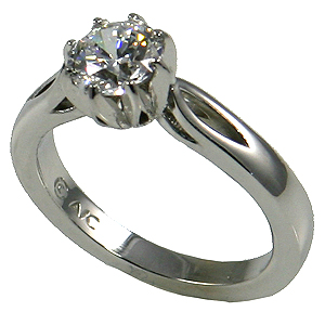 Platinum 8 Prong CZ/Cubic Zirconia Engagement/Solitaire Ring - Product Image