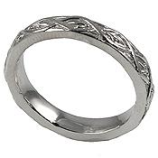Platinum Antique Lotus Crest Wedding Band Ring - Product Image
