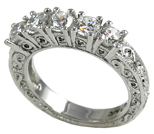 14k Gold CZ Antique Wedding Anniversary Band Ring - Product Image