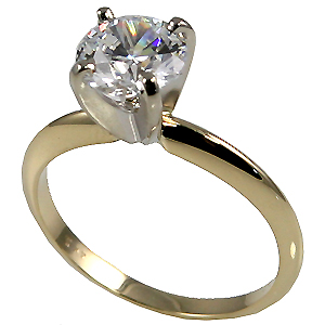 Platinum CZ Cubic Zirconia 4 Prong Engagement Ring - Product Image