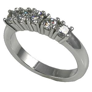 Platinum 5 Stone CZ Wedding Anniversary Band Ring - Product Image
