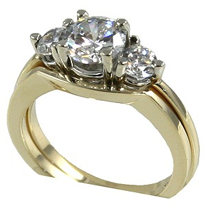 14k Gold Cubic Zirconia CZ 3 stone Engagement Ring with matching Wedding Band - Product Image