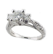 14k Gold Dainty Antique Scuplture Style CZ Cubic Zirconia 3 Stone Ring - Product Image