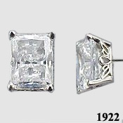 14k Gold Emerald Cut Antique/Scroll Style CZ Cubic Zirconia Earrings - Product Image