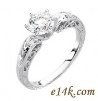 14k Gold Hand-Carved Round or Princess Cut Cubic Zirconia Vintage Filigree Engagement Solitaire CZ Ring - Product Image