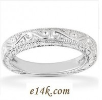 14k Gold Hand-Crafted Antique Victorian Wedding Band - Product Image