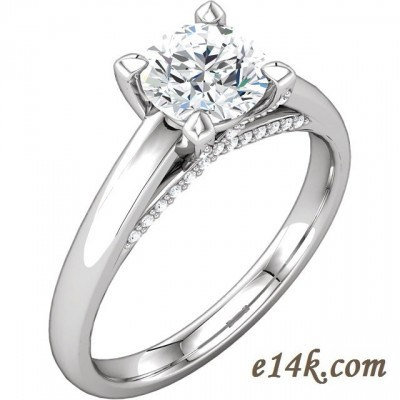 14k Gold Modern Lucinda Style Engagement Ring Criss Cross Prongs with Round Cubic zirconia accent Stones - Product Image