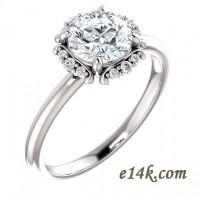 14k Gold Round Cut CZ Halo Style Cubic Zirconia Engagement Ring - Product Image