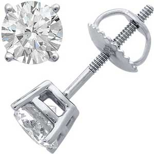 14k Solid Yellow Or White Gold Russian Cz Cubic Zirconia Stud Earrings