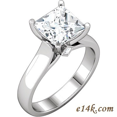 14k Gold Russian CZ Princess Cut Solitaire Engagement Ring w/ Accent Stones - Product Image