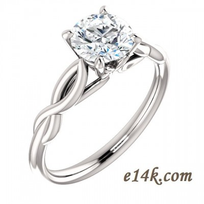 "14k Gold ""Tulip"" Round Brilliant CZ Cubic Zirconia Solitaire Engagement Ring w/ Matching Wedding Band - Product Image"