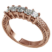 14k Rose Gold 1 ctw Princess Antique Wedding/Anniversary CZ Band Ring - Product Image