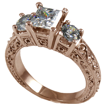 14k Rose Gold 2 ctw 3 Stone Antique Princess Band Wedding Set CZ Bridal Ring - Product Image