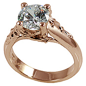 14k Rose Gold Antique/Floral CZ Cubic Zirconia Engagement Ring - Product Image