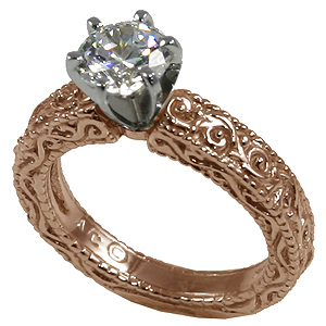 14k Rose Gold CZ Cubic Zirconia Antique Victorian Engagement Ring - Product Image