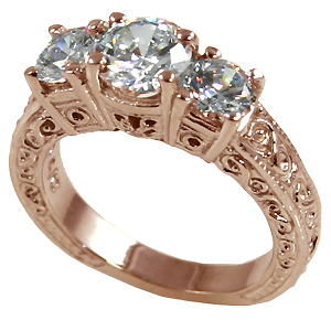 14k Rose Pink Gold 2 ctw 3 Stone Antique/Deco Cubic Zirconia Ring - Product Image