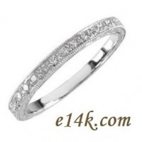 14k White Gold Hand-Engraved Antique Victorian Wedding Band - Product Image