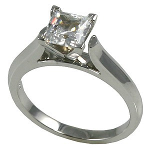 14k White or Yellow Gold Cathedral Engagement CZ Cubic Zirconia Ring - Product Image