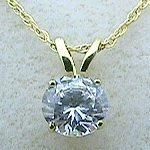 Solid 14k Gold Russian CZ Cubic Zirconia Round/Brilliant Necklace - Product Image