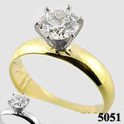 14k Gold Russian CZ Solitaire Ring Engagement Ring *width options! - Product Image