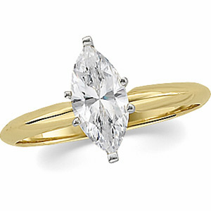 Solid 14k Gold Marquis Cut Russian CZ Solitaire Engagement Ring - Product Image