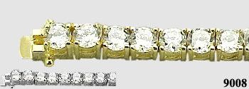 Solid 14k Gold 7 Carat CZ Cubic Zirconia Tennis Bracelet - Product Image