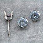 Platinum Russian CZ Cubic Zirconia Stud Basket Style Earrings - Product Image