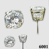 14k Solid Yellow or White Gold Russian CZ/Cubic Zirconia Stud Earrings - Product Image