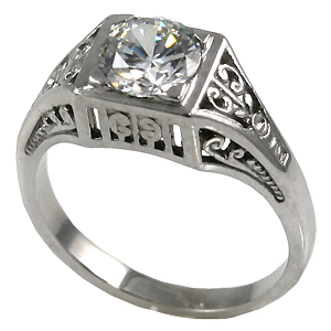 14k Gold 1ct CZ Cubic Zirconia Antique/Deco style solitaire ring - Product Image
