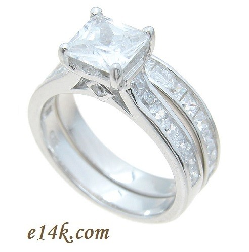 1ct Center Princess Cut Cubic Zirconia Sterling Silver Cathedral Style Engagement Ring & CZ Wedding Band - Product Image