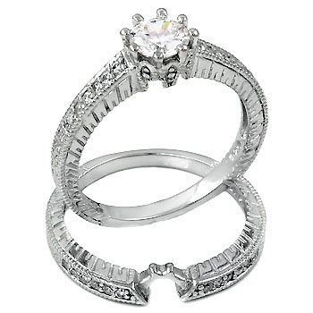 1ct Sterling Silver Antique Style Round CZ Cubic Zirconia Engagement Ring / Wedding Set - Product Image