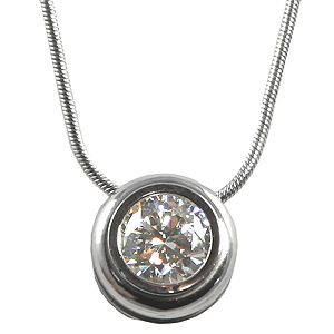 Solid 14k Gold CZ Cubic Zirconia in Bezel Slide Necklace w/ Snake Chain Necklace - Product Image