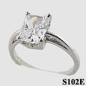Sterling Silver  Emerald Cut Antique/Scroll Solitaire CZ Cubic Zirconia Ring - Product Image