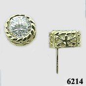 14k Gold Antique/Filigree Style CZ Cubic Zirconia Earrings - Product Image