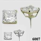 Solid 14k Gold Princess Cut CZ Cubic Zirconia Earrings - Product Image