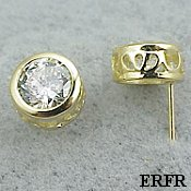 Solid 14k Gold Filigree Bezel CZ Cubic Zirconia Earrings - Product Image